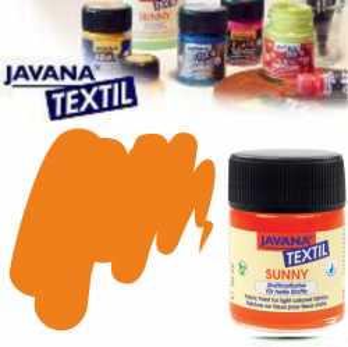 JAVANA SUNNY - Боя за рисуване върху текстил, светла основа 50мл. - ОРАНЖ