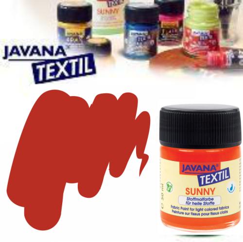 JAVANA SUNNY - Боя за рисуване върху текстил, светла основа 50мл. - РУБИНЕНО ЧЕРВЕНА