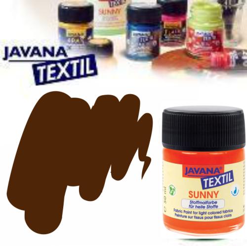 JAVANA SUNNY - Боя за рисуване върху текстил, светла основа 50мл. - ТЪМНО КАФЯВА