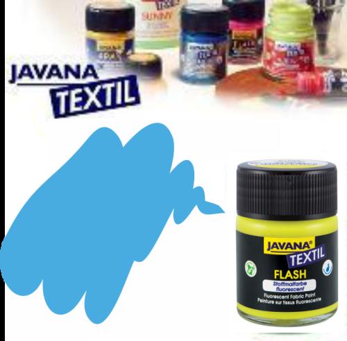 JAVANA FLASH - Флуорисцентна боя за текстил / светла основа 50мл. - СИНЯ
