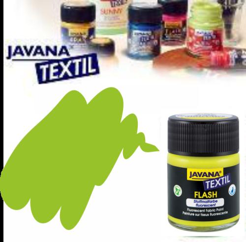 JAVANA FLASH - Флуорисцентна боя за текстил / светла основа 50мл. - ЗЕЛЕНА