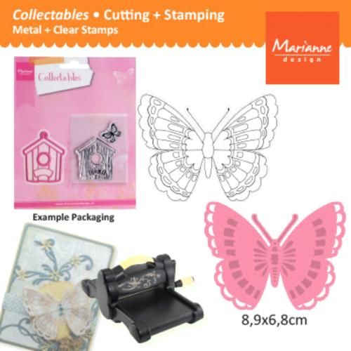BUTTERFLY Marianne Design - Шаблон за рязане, ембос + печат