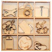 DECO ELEMENTS HANGING  - Дървени елементи 27бр `TRAVEL`