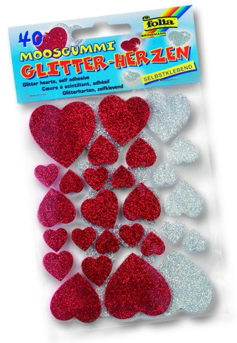 3D глитер стикери Сърца - изработени от MOOSGUMMI - 40 бр.