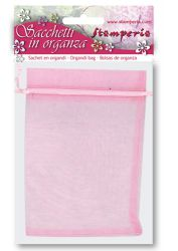 Stamperia Art Designer - Комплект 6 бр. торбички от органза 12х15 см. - Розова