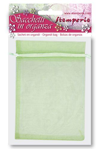 Stamperia Art Designer - Комплект 6 бр. торбички от органза 12х15 см. - Зелена