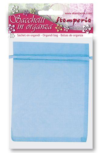 Stamperia Art Designer - Комплект 6 бр. торбички от органза 12х15 см. - Синя