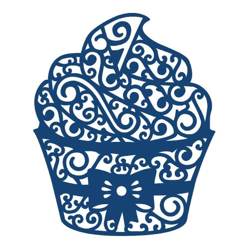 CUPCAKE Tattered Lace Dies - Детайлни дизайн щанци - Large Cupcake