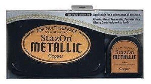 StazOn METALLIC - Тампон + мастило за всякаква твърда или гланцирана повърхност - плътно Медно