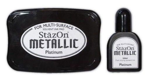 StazOn - тампон + мастило за всякаква твърда или гланцирана повърхност - Платина