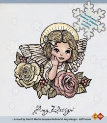 Amy Designs Stamp - Angel with Roses - прозрачни печати 8x8 cm.
