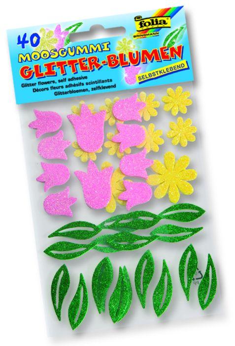 3D глитер стикери Цветя - изработени от MOOSGUMMI - 40 бр.