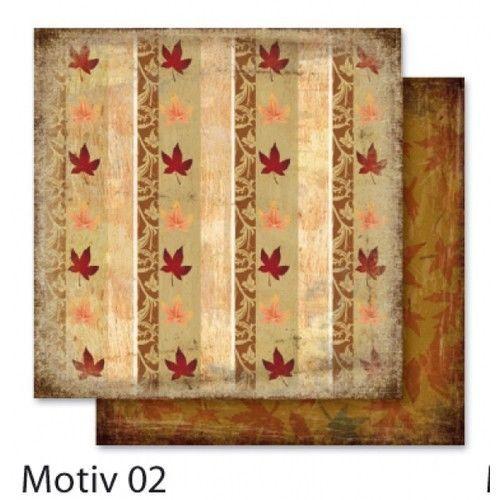 FB Autumn 02 - Дизайнерски картон с ембос-глитер елементи - 30,5 Х 30,5 см.
