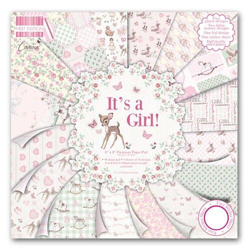 LUX 8x8 Pad - IT'S A GIRL  - Дизайнерски блок 48 листа