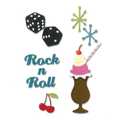Thinlits Die Set - Щанци за рязане и релеф 9бр Rock 'n Roll Sundae