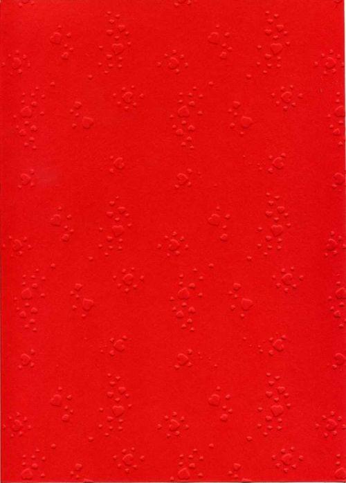 """FB EMBOSS CARD - Преге картон 230гр """"СЪРЦА"""" 50x70см  - Червено"""