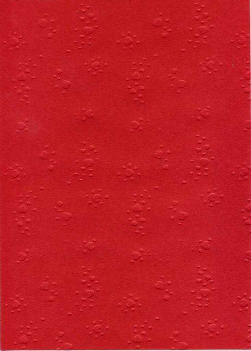 """FB EMBOSS CARD - Преге картон 230гр """"СЪРЦА"""" 50x70см - Тъмно червено"""
