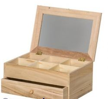 BOX Artemio TOILETTE - Дървенa  кутия-тоалетка с огледало 26х18х12