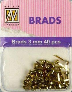 BRADS 3mm 40 бр FLORAL GOLD