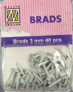 BRADS 3mm 40 бр FLORAL WHITE