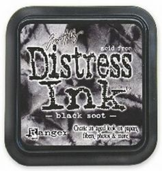 "Distress ink pad by Tim Holtz - Тампон, ""Дистрес"" техника - Black soot"