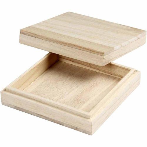 BOX SQUARE - Дървена кутия 10 х 10 X 3см