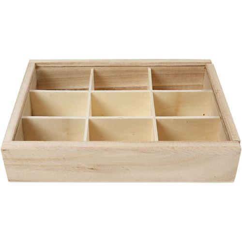 BOX DISPLAY - Дървена кутия с разделения и стъкло 17 х 13 см