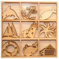 DECO ELEMENTS HANGING - Дървени елементи 27бр `SEA`