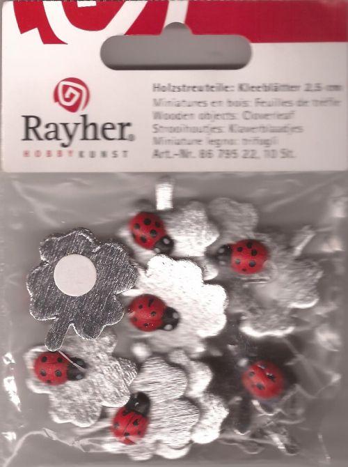 RAYHER WOODEN LADYBUGS - Детелина с калинка  2,5 см. 10бр. с лепка