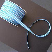 GINGHAM RIBBON  7mm - Панделка de luxe 20 м ролка Turquoise