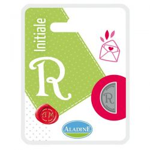 ALADINE,France -  метален печат ПОЛОВИНКА ДВУСТРАНЕН ИНИЦИАЛ  за восък  R