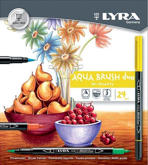 LYRA AQUABRUSH DUO 24 - Lyra двувърхи маркери - четка 24бр