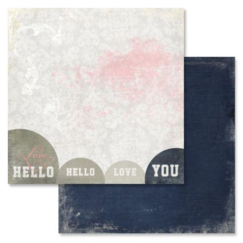 GLITZ LOVE YOU HELLO ,USA 12 X 12  - Дизайнерски скрапбукинг картон 30,5 х 30,5 см.