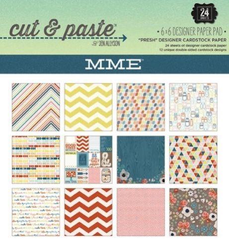 "MME CUT & PASTE PRESH ,USA - Дизайнерски блок 6""х6"" / 24 листа"