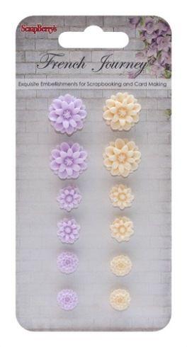 SCRAPBERRYS CHRYSANTHEMUMS FRENCH JOURNEY 1 (resin) - Деко ХРИЗАНТЕМИ от полимер