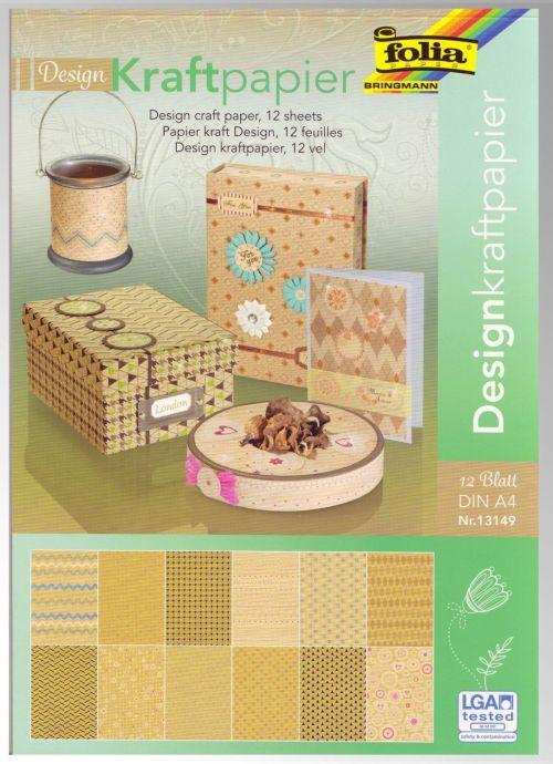 Design Kraft PAD - Дизайнблок с крафт хартия с брокат елементи 12л/A4