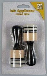 INK Applicator ROUND / NS - Апликатор за мастила и дистрес ефект, 2бр. + 4бр. тампони
