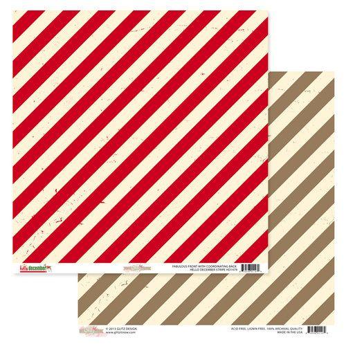 GLITZ DESIGN USA STRIPE 12 X 12  - Дизайнерски скрапбукинг картон 30,5 х 30,5 см.