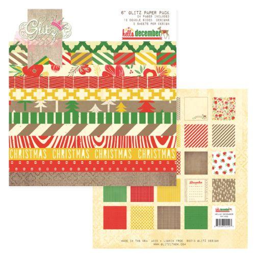 "GLITZ CHRISTMAS HELLO DECEMBER ,USA - Дизайнерски блок 6""х6"" / 24 листа"