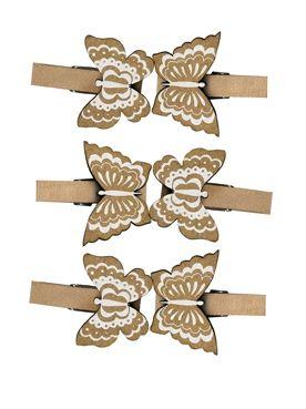 PEGS BUTTERFLIES  - Щипки натурално дърво с пеперуди 6 бр.