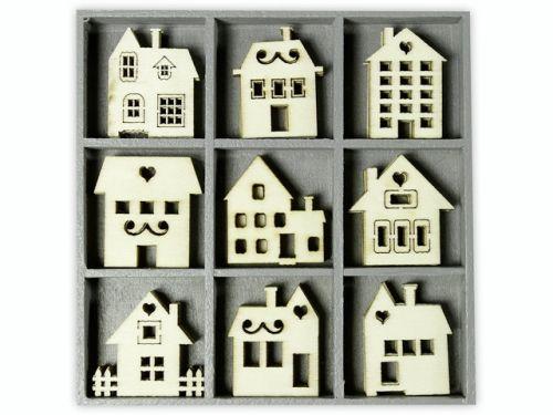 ORNAMENTS WOOD houses 45pcs - Дървени елементи 45бр
