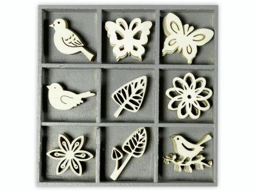 ORNAMENTS WOOD floral filig.45pcs - Дървени елементи 45бр