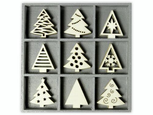 DECO ORNAMENTS xmas trees 45pcs - Дървени елементи 45бр