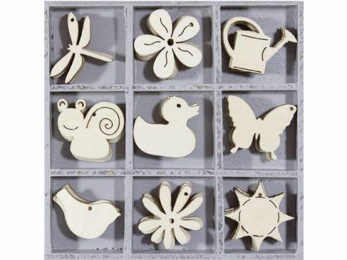 DECO ORNAMENTS flower/animal 45pcs - Дървени елементи 45бр