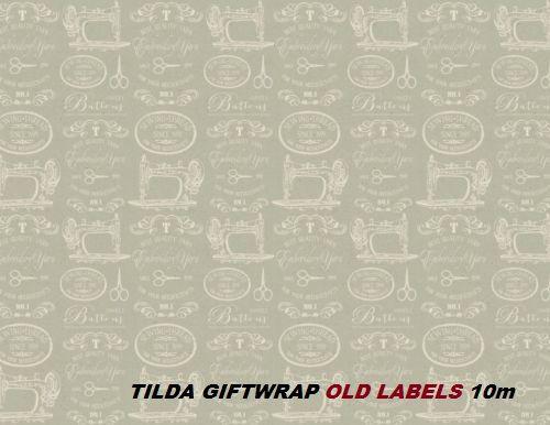 TILDA GIFTWRAP ROLL 10m  - Декорационна хартия TILDA ролка 10м OLD LABELS