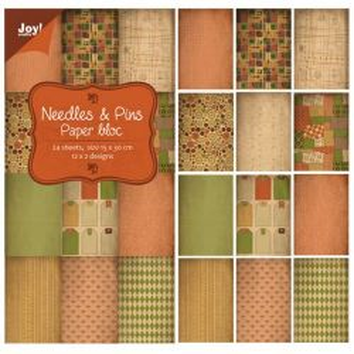 JOY Papierblok NEEDLES & PINS - 15x30cm 24sheets, 12x2designs, 200gs
