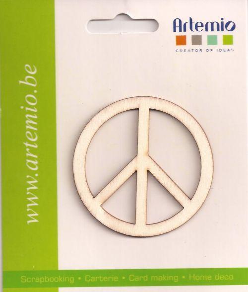 """DECO WOOD ELEMENTS  - 3бр. дървени """"PEACE"""" елементи 10 см.."""