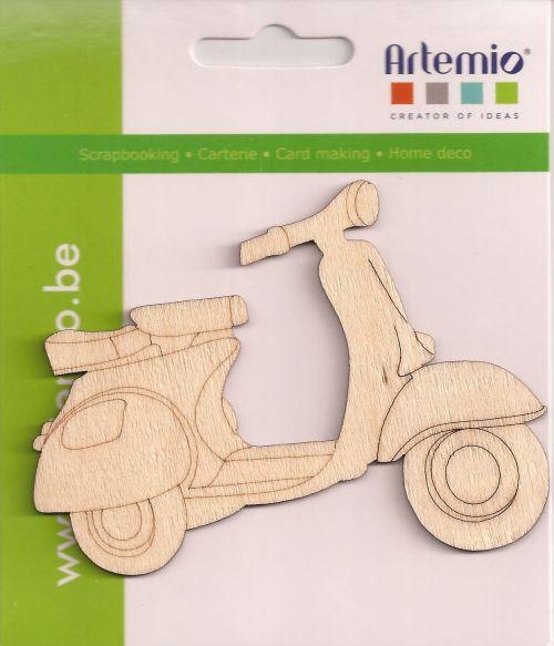 DECO ELEMENTS SCOOTER - Дървен retro скутер Vespa 10 см. - 3 бр.