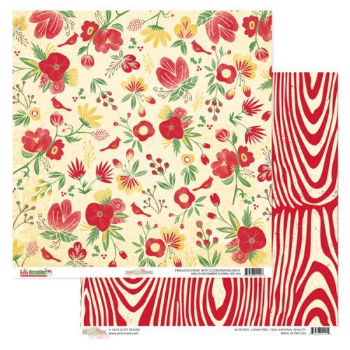 GLITZ HELLO DEC ,USA 12 X 12  - Дизайнерски скрапбукинг картон 30,5 х 30,5 см.