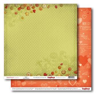 "SCRAPBERRY # SWEET HEART - AMOUR 12X12"" 180g - Дизайнерски картон 30,5 х 30,5 см."